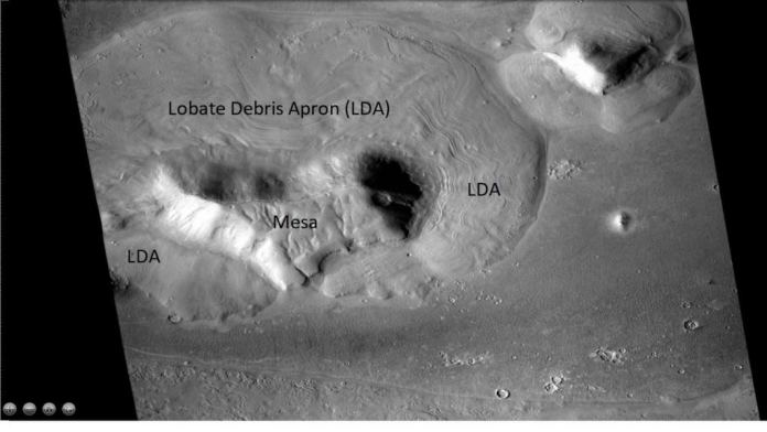 This image from the Mars Reconnaissance Orbiter's CTX camera shows a mesa with three lobate debris aprons in Mars' Ismenius Lacus quadrangle. Though these LDAs aren't from a glacier, they illustrate the concept. Image Credit: By Jim Secosky modified NASA image NASA/JPL/University of Arizona/Secosky - http://viewer.mars.asu.edu/planetview/inst/ctx/D02_028115_2225_XI_42N341W#P=D02_028115_2225_XI_42N341W&T=2, Public Domain, https://commons.wikimedia.org/w/index.php?curid=66634749