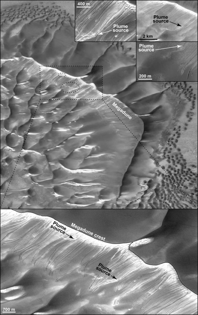 Image from the study showing dust plumes caused by moving ice fragments