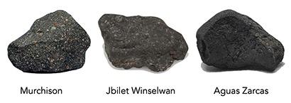 अध्ययन में प्रयुक्त तीन उल्कापिंडों के चित्र।