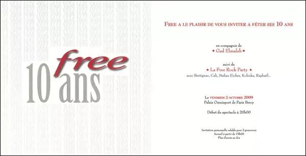 Free offre 1250 nouvelles invitations à Bercy