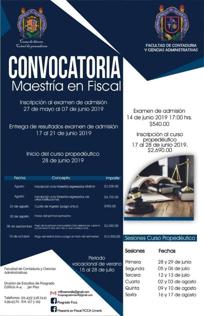 Convocatoria Maestría en Fiscal - FCCA - UMSNH 2020