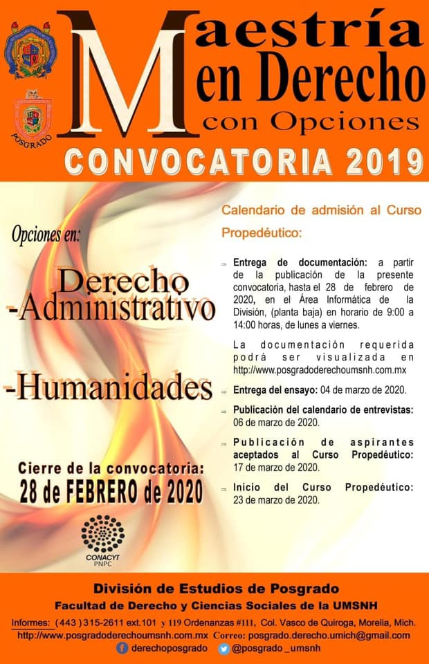 Convocatoria a la Maestría en Derecho con opciones en Derecho Administrativo y Humanidades