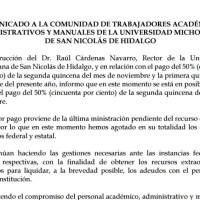 La Universidad Michoacana paga el 50 % de la quincena de noviembre, se queda en ceros