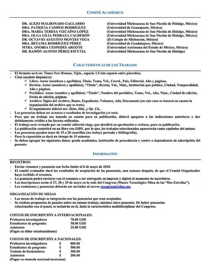 Convocatoria al 5 Congreso Internacional en Historia y Ciencias Sociales de la Universidad Michoacana de San Nicolás de Hidalgo