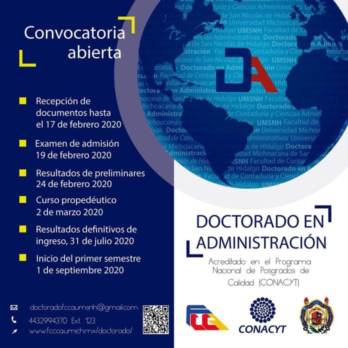 Convocatoria al Doctorado en Administración de la Facultad de Contaduría y Ciencias Administrativas dependiente de la Universidad Michoacana de San Nicolás de Hidalgo.