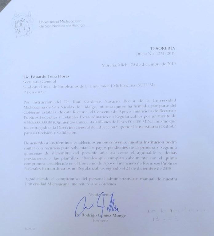 La firma del Convenio de recursos Extraordinarios No Regularizables se dió a conocer al SUEUM desde el 20 de diciembre del 2019, con ello se pagarían salarios y prestaciones, el SUEUM no aceptó