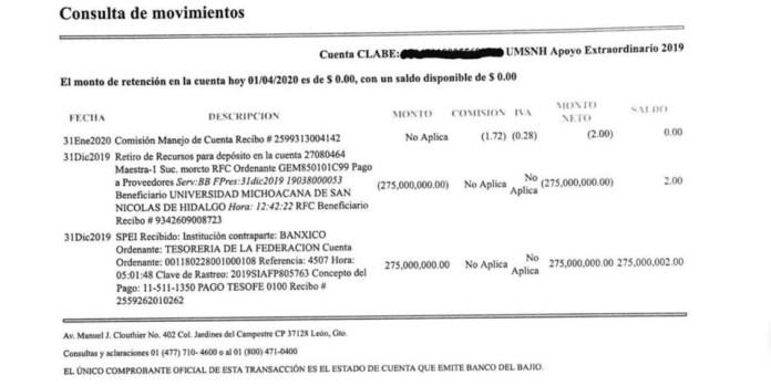 Reporte de transferencias de la SFA a la UMSNH, faltan 26 millones de pesos.