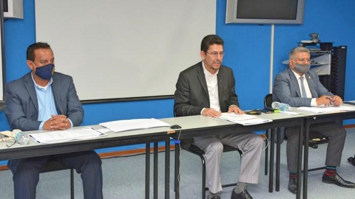 Dr. Ulises Huerta, Mtro. Pedro Mata y el Lic. Luis Fernando Rodríguez, autoridades universitarias de la UMSNH señalan como impagables las exigencias económicas del SUEUM para las carteras de lo componen.