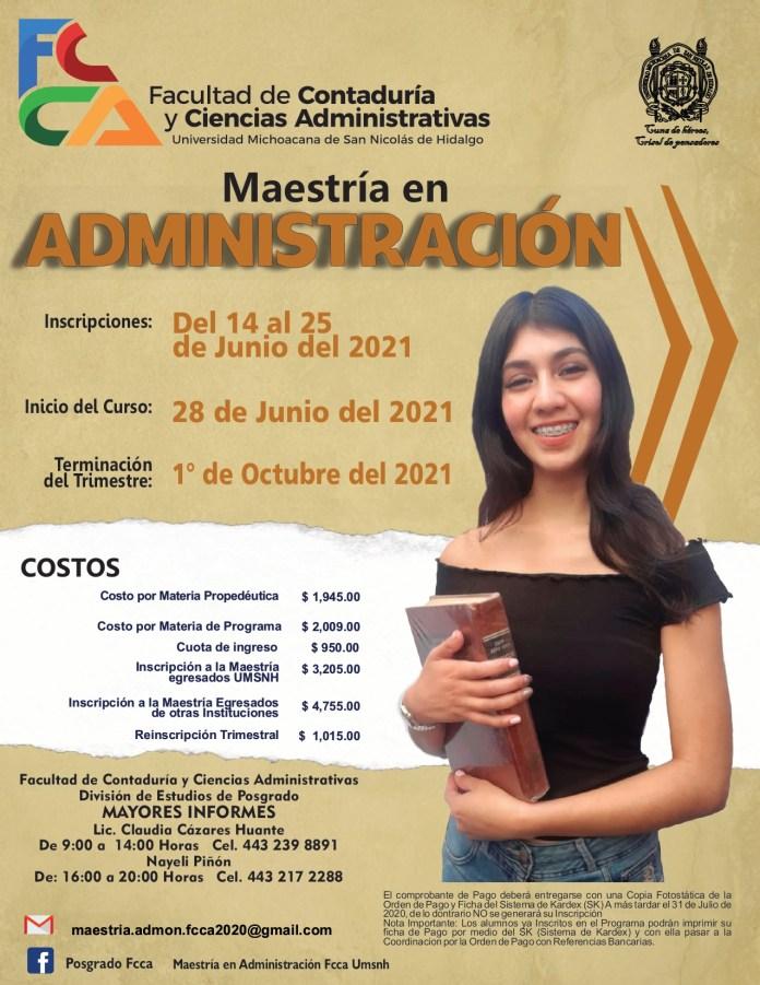 Maestría en Administración 2021 | FCCA | UMSNH