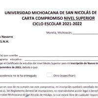 Carta compromiso; la opción si no tienes tu certificado de estudios para el ingreso a la UMSNH