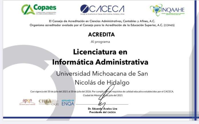 LIA - FCCA   La Universidad Michoacana celebra la reacreditación del programa de licenciatura en Informática Administrativa, de la Facultad de Contaduría y Ciencias Administrativas.