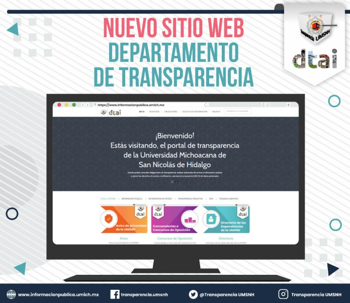 Nuevo rediseño del portal web del Departamento de Transparencia de la UMSNH