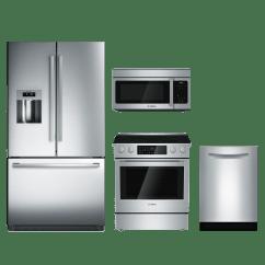 4 Piece Stainless Steel Kitchen Package Island Light Fixture Bosch 800 Series