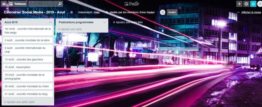 Calendrier Social Media - 2019 - Aout
