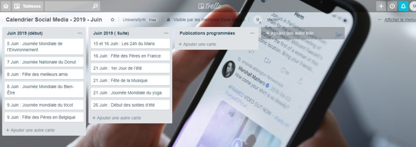 Calendrier Social Media - 2019 - Juin