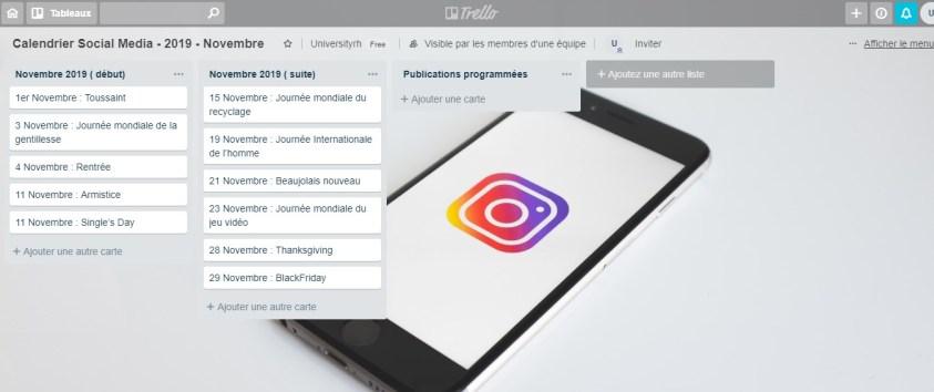 Calendrier Social Media - 2019 - Novembre