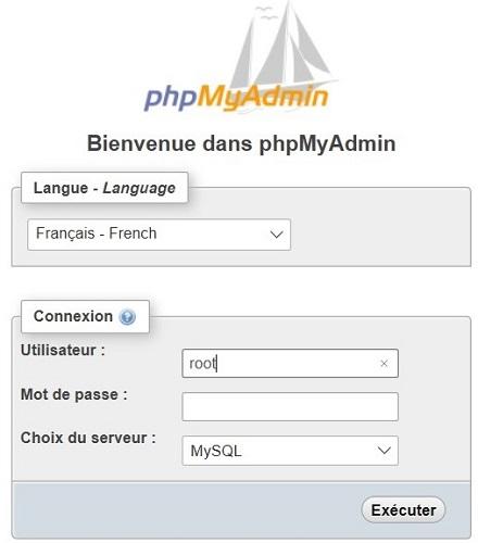 phpmyadmin pour créer votre base de données - etape 1