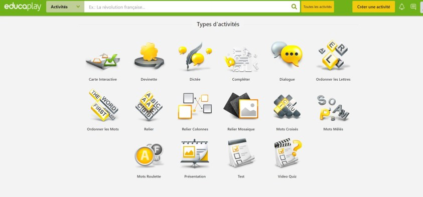Panorama des 16 types d'exercices sur Educaplay
