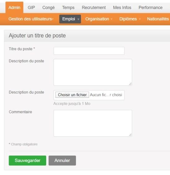 orangeHRM - ajouter un titre de poste