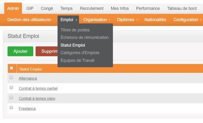 orangeHRM - statut - emploi
