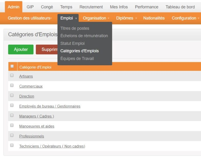orangeHRM - categorie - emplois