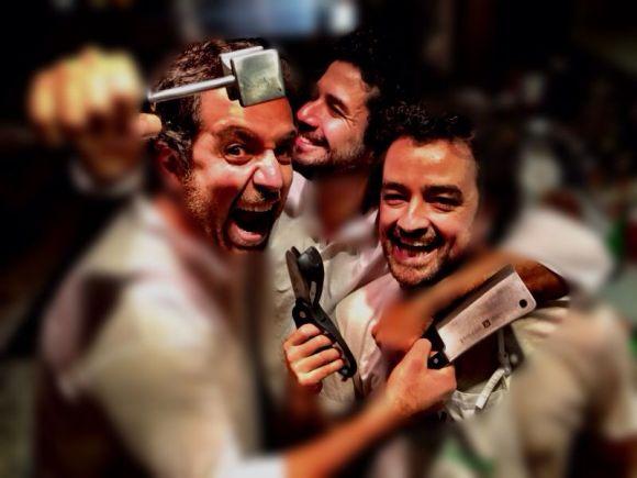 Os amigos Alexandre Pernet, Geraldo Mattar e Rodrigo Marcondes. Foto: Arquivo Pessoal