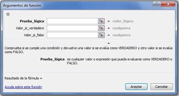 Comandos de la función SI del Excel. Argumentos de la función.