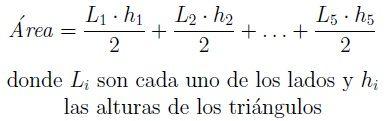Fórmula para a área de pentágono irregular