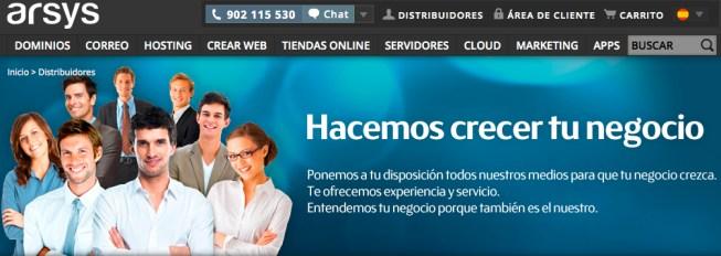 arsys programa de Dsitribución de productos de hosting y dominios