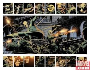 doble página de David Aja para El Inmortal Puño de Hierro