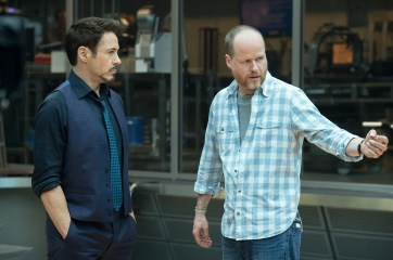 Marvel's Avengers: Age Of Ultron Director Joss Whedon working on set with actor Robert Downey Jr. Ph: Jay Maidment ©Marvel 2015