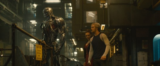 Marvel's Avengers: Age Of Ultron L to R: Ultron (voiced by James Spader), Scarlet Witch/Wanda Maximoff (Elizabeth Olsen) and Quicksilver/Pietro Maximoff (Aaron Taylor-Johnson) Ph: Film Frame ©Marvel 2015