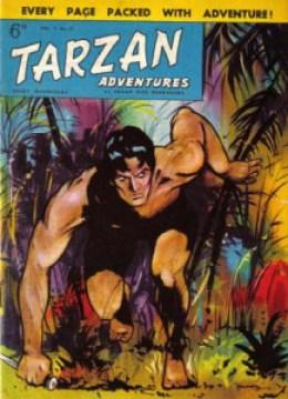 """Michael Moorcock hizo sus primeros pinitos en la revista inglesa Tarzan Adventures, aunque parece que se tomó demasiadas """"licencias artísticas"""" en su trabajo. Tarzan Copyright © 2013 ERB, Inc."""