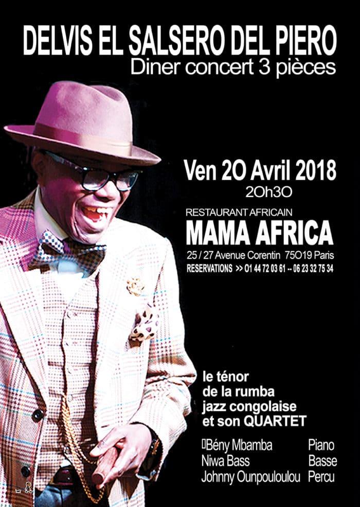 Concert Delvis Salsero Del Piero, le Vendredi 20 Avril 2018