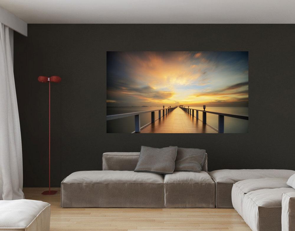 AluDibond Wandbild Seebrcke Sonnenaufgang
