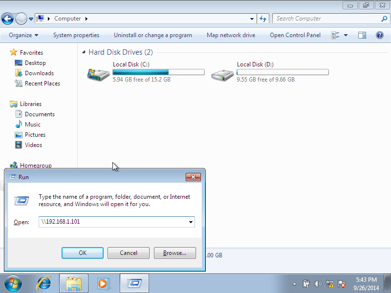 Windows 7, 1 nic, bridge, internet [Running] - Oracle VM VirtualBox_001