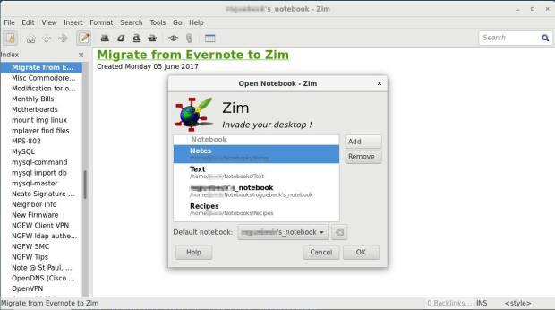 zim add new notebook dialogue