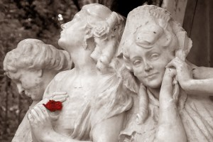 statue of 3 angelic women