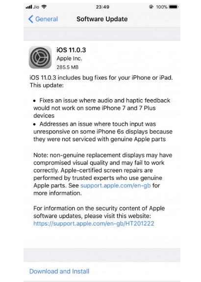آبل تطلق تحديث iOS 11.0.3 للآيفون والآيباد