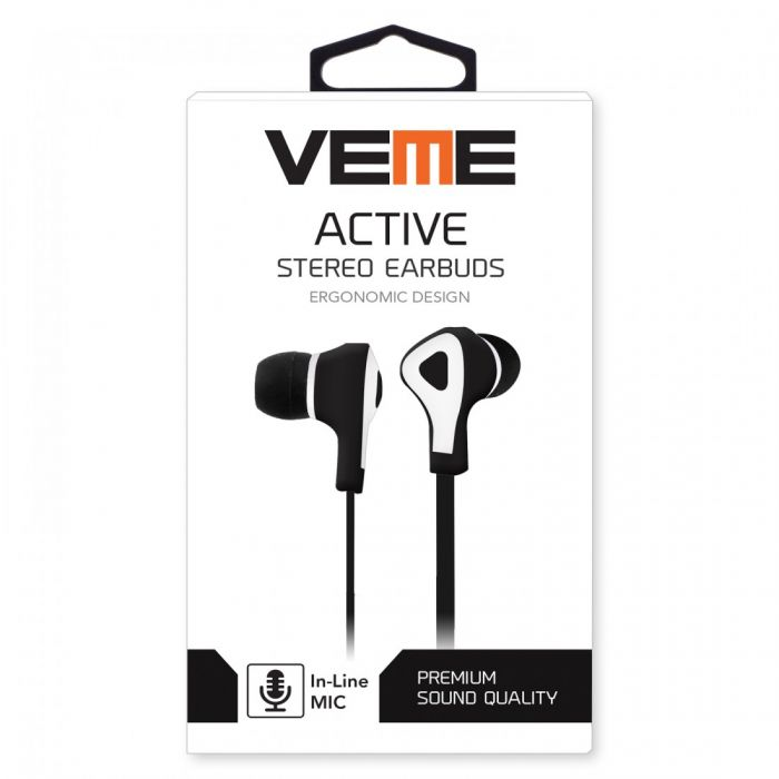 VEME ACTIVE SERIES STEREO TANGLE-FREE EARBUDS-BLACK