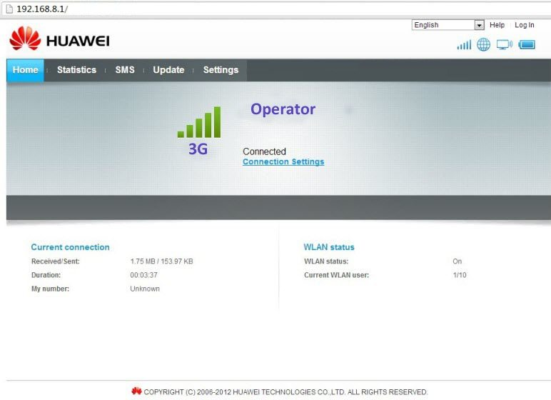 Huawei Hilink Modem Web Interface