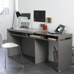 bureau avec plateau coulissant pour grand espace de travail pas cher original pour ado etudiant pose