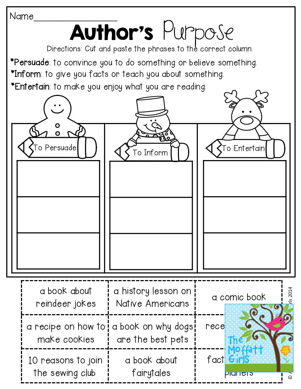 Authors Purpose Worksheets 7th Grade