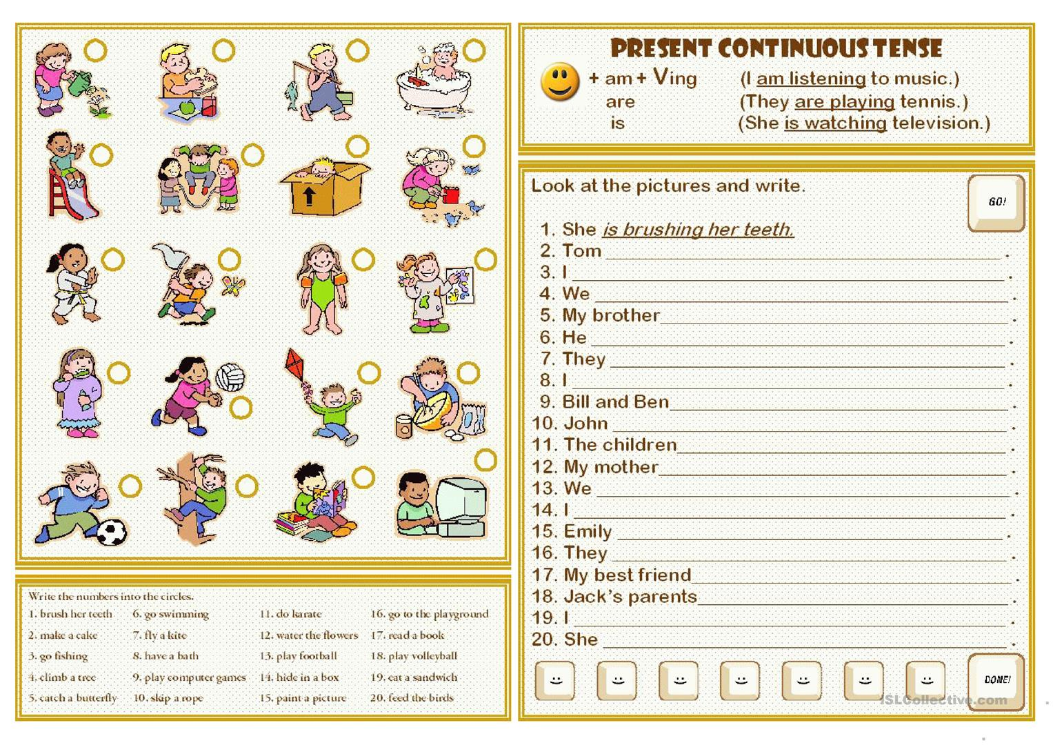 Present Continuous Tense Worksheets For Grade 3