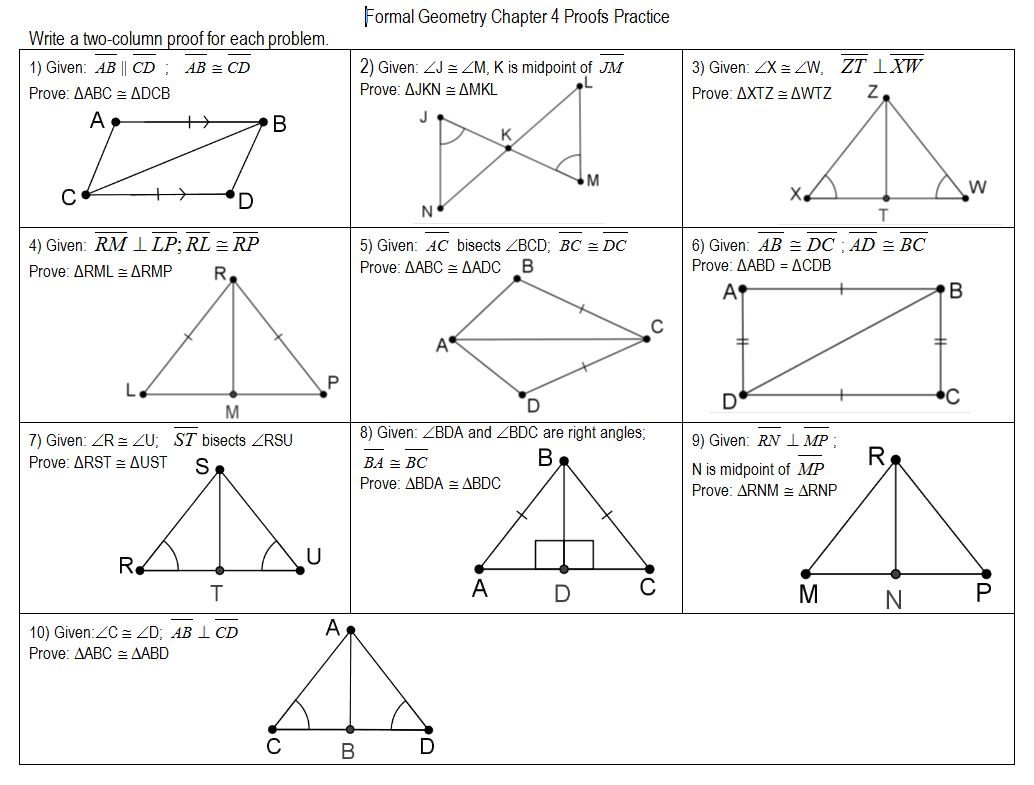 Triangle Proofs Worksheets