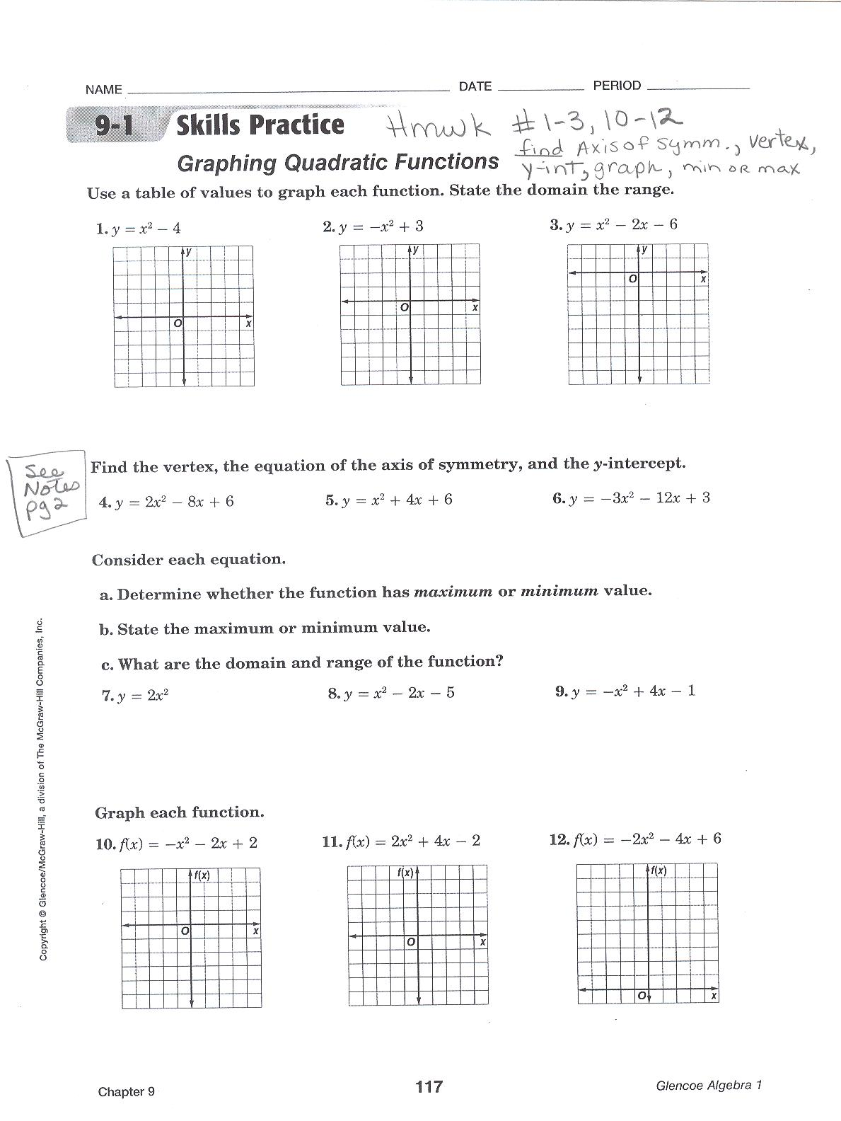 Graphing Quadratic Equations Worksheets