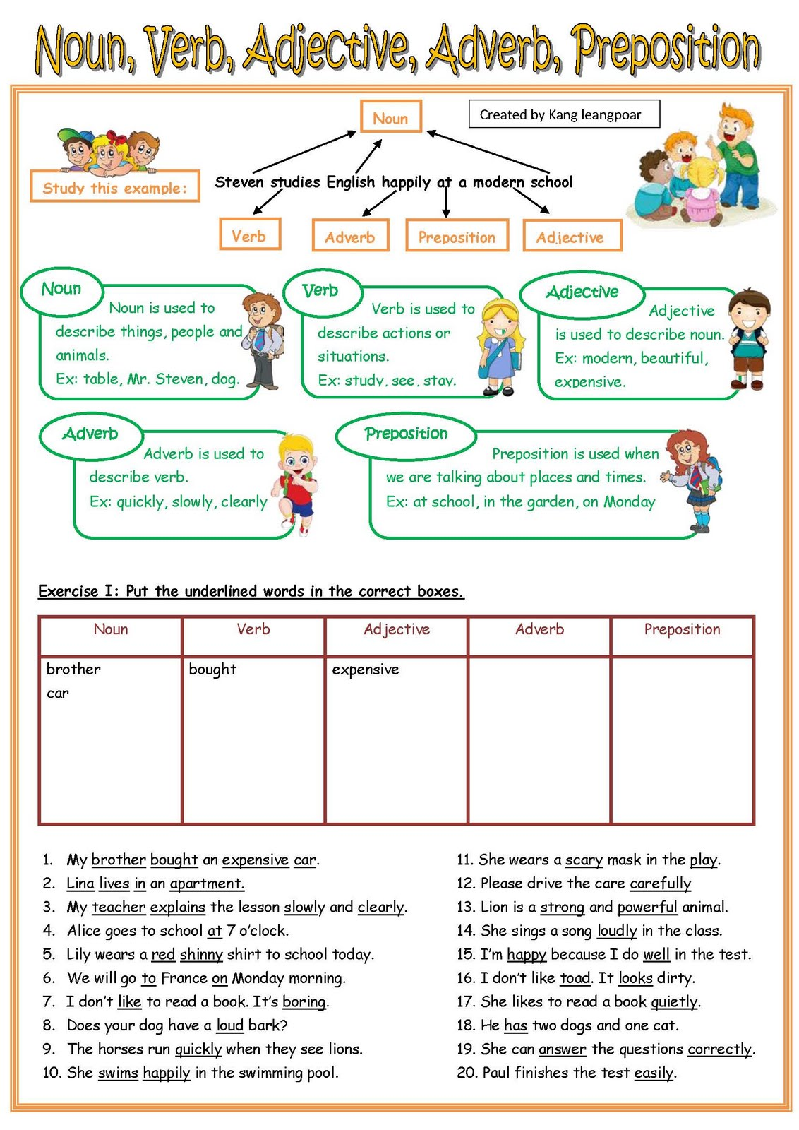 Noun Adjective Verb Worksheets