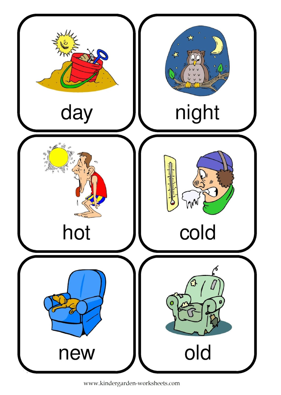 Kindergarten Opposites Worksheets