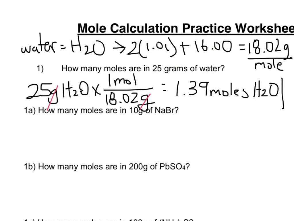 Mole Practice Worksheets
