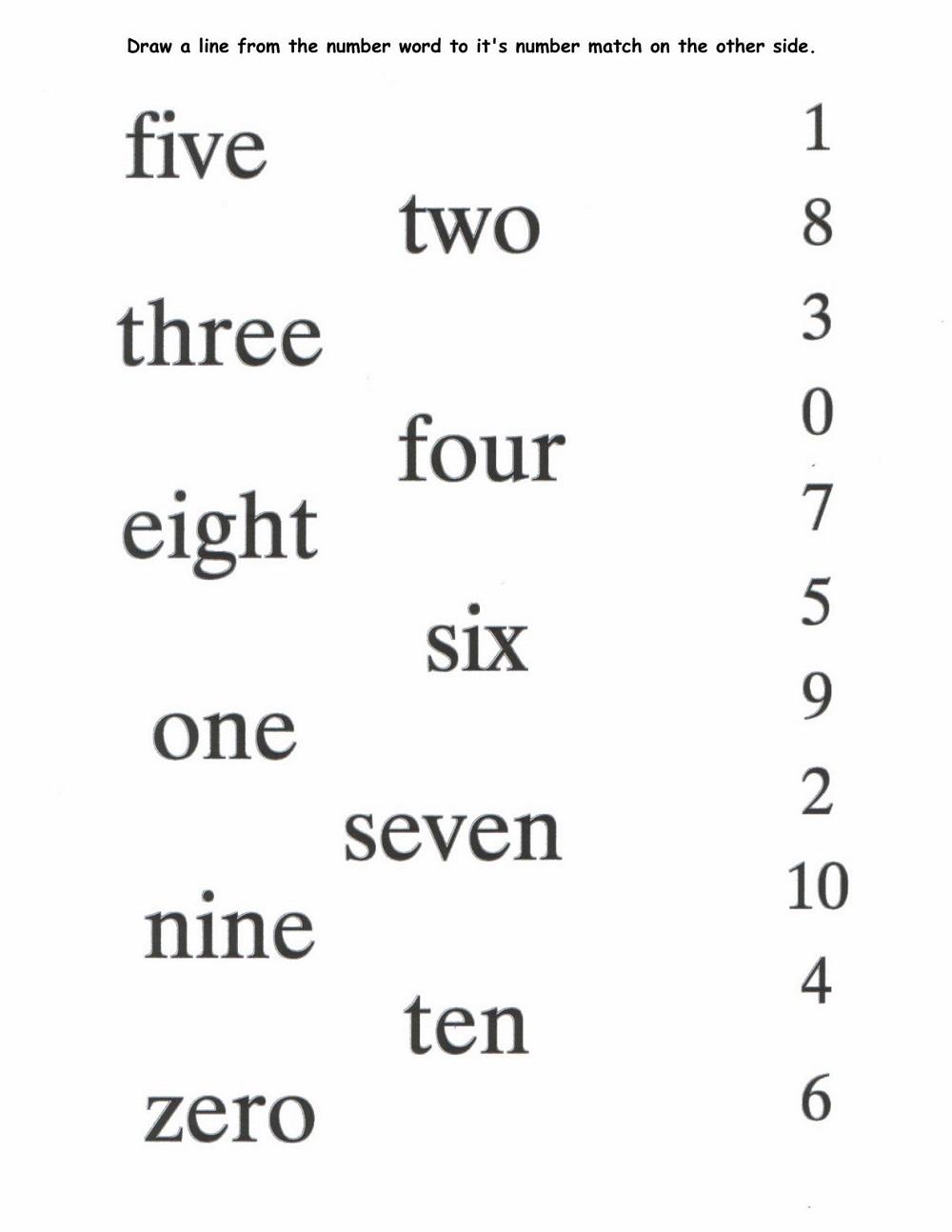 Number Names 1-10 Worksheets